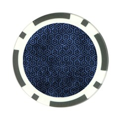 Hexagon1 Black Marble & Blue Stone (r) Poker Chip Card Guard (10 Pack) by trendistuff