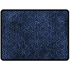 Hexagon1 Black Marble & Blue Stone (r) Double Sided Fleece Blanket (large) by trendistuff