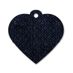Hexagon1 Black Marble & Blue Stone Dog Tag Heart (two Sides) by trendistuff