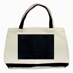 Hexagon1 Black Marble & Blue Stone Basic Tote Bag (two Sides) by trendistuff