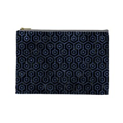 Hexagon1 Black Marble & Blue Stone Cosmetic Bag (large) by trendistuff