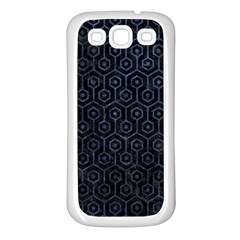 Hexagon1 Black Marble & Blue Stone Samsung Galaxy S3 Back Case (white) by trendistuff