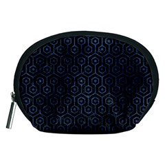 Hexagon1 Black Marble & Blue Stone Accessory Pouch (medium) by trendistuff
