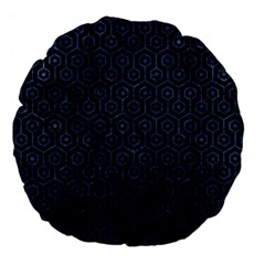 Hexagon1 Black Marble & Blue Stone Large 18  Premium Flano Round Cushion  by trendistuff