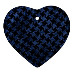 Houndstooth2 Black Marble & Blue Stone Ornament (heart) by trendistuff