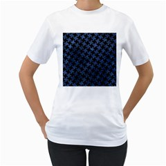 Houndstooth2 Black Marble & Blue Stone Women s T Shirt (white) (two Sided) by trendistuff