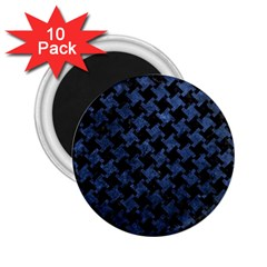 Houndstooth2 Black Marble & Blue Stone 2 25  Magnet (10 Pack) by trendistuff
