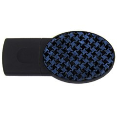 Houndstooth2 Black Marble & Blue Stone Usb Flash Drive Oval (2 Gb) by trendistuff