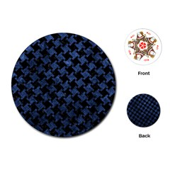Houndstooth2 Black Marble & Blue Stone Playing Cards (round) by trendistuff