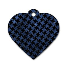 Houndstooth2 Black Marble & Blue Stone Dog Tag Heart (one Side) by trendistuff