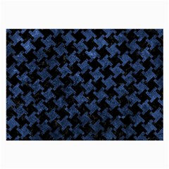 Houndstooth2 Black Marble & Blue Stone Large Glasses Cloth (2 Sides) by trendistuff