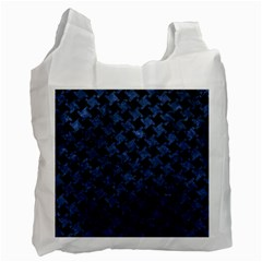 Houndstooth2 Black Marble & Blue Stone Recycle Bag (two Side) by trendistuff