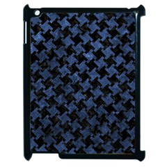 Houndstooth2 Black Marble & Blue Stone Apple Ipad 2 Case (black) by trendistuff