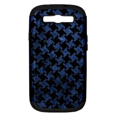 Houndstooth2 Black Marble & Blue Stone Samsung Galaxy S Iii Hardshell Case (pc+silicone) by trendistuff