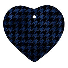 Houndstooth1 Black Marble & Blue Stone Ornament (heart) by trendistuff