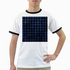 Houndstooth1 Black Marble & Blue Stone Ringer T by trendistuff