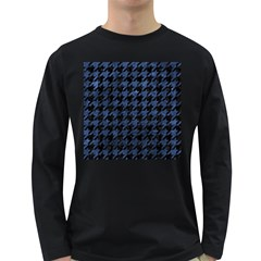 Houndstooth1 Black Marble & Blue Stone Long Sleeve Dark T Shirt by trendistuff
