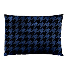 Houndstooth1 Black Marble & Blue Stone Pillow Case by trendistuff