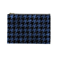 Houndstooth1 Black Marble & Blue Stone Cosmetic Bag (large) by trendistuff