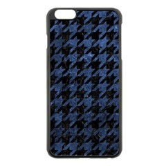 Houndstooth1 Black Marble & Blue Stone Apple Iphone 6 Plus/6s Plus Black Enamel Case by trendistuff