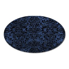 Damask2 Black Marble & Blue Stone (r) Magnet (oval) by trendistuff
