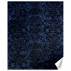 Damask2 Black Marble & Blue Stone (r) Canvas 16  X 20  by trendistuff