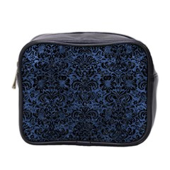 Damask2 Black Marble & Blue Stone (r) Mini Toiletries Bag (two Sides) by trendistuff