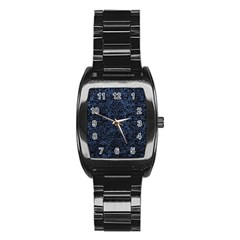 Damask2 Black Marble & Blue Stone (r) Stainless Steel Barrel Watch by trendistuff