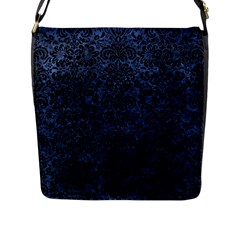 Damask2 Black Marble & Blue Stone (r) Flap Closure Messenger Bag (l) by trendistuff