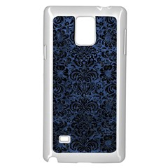 Damask2 Black Marble & Blue Stone (r) Samsung Galaxy Note 4 Case (white) by trendistuff