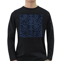 Damask2 Black Marble & Blue Stone Long Sleeve Dark T Shirt by trendistuff