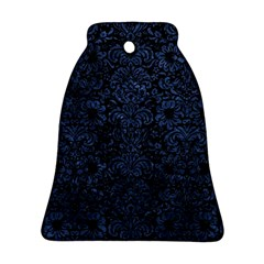 Damask2 Black Marble & Blue Stone Ornament (bell) by trendistuff