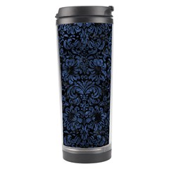 Damask2 Black Marble & Blue Stone Travel Tumbler by trendistuff