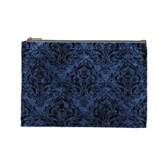 Damask1 Black Marble & Blue Stone (r) Cosmetic Bag (large) by trendistuff