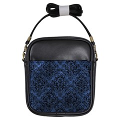 Damask1 Black Marble & Blue Stone (r) Girls Sling Bag by trendistuff