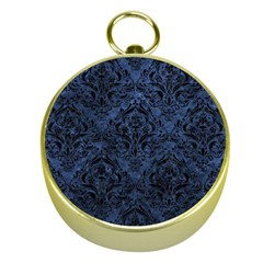 Damask1 Black Marble & Blue Stone (r) Gold Compass by trendistuff