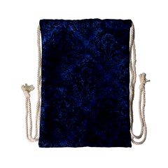 Damask1 Black Marble & Blue Stone (r) Drawstring Bag (small) by trendistuff