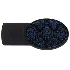 Damask1 Black Marble & Blue Stone Usb Flash Drive Oval (2 Gb)