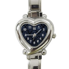 Damask1 Black Marble & Blue Stone Heart Italian Charm Watch by trendistuff