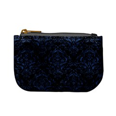 Damask1 Black Marble & Blue Stone Mini Coin Purse by trendistuff