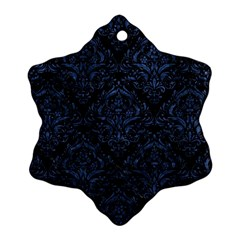 Damask1 Black Marble & Blue Stone Ornament (snowflake) by trendistuff