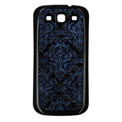 Damask1 Black Marble & Blue Stone Samsung Galaxy S3 Back Case (black) by trendistuff