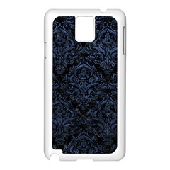 Damask1 Black Marble & Blue Stone Samsung Galaxy Note 3 N9005 Case (white) by trendistuff