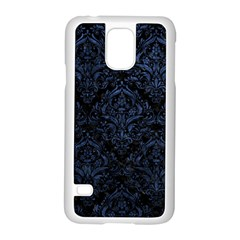 Damask1 Black Marble & Blue Stone Samsung Galaxy S5 Case (white) by trendistuff