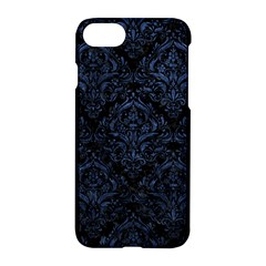 Damask1 Black Marble & Blue Stone Apple Iphone 7 Hardshell Case by trendistuff