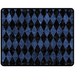 Diamond1 Black Marble & Blue Stone Fleece Blanket (medium) by trendistuff