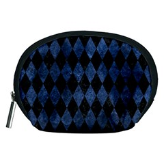 Diamond1 Black Marble & Blue Stone Accessory Pouch (medium) by trendistuff