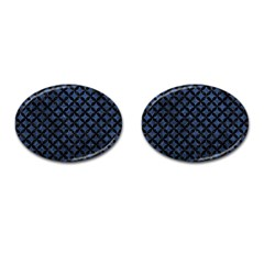 Circles3 Black Marble & Blue Stone (r) Cufflinks (oval) by trendistuff