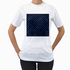 Circles3 Black Marble & Blue Stone Women s T Shirt (white)  by trendistuff