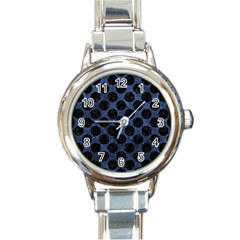 Circles2 Black Marble & Blue Stone (r) Round Italian Charm Watch by trendistuff